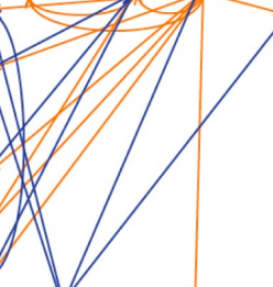 A series of lines in purple and orange criss-crossing a white background.